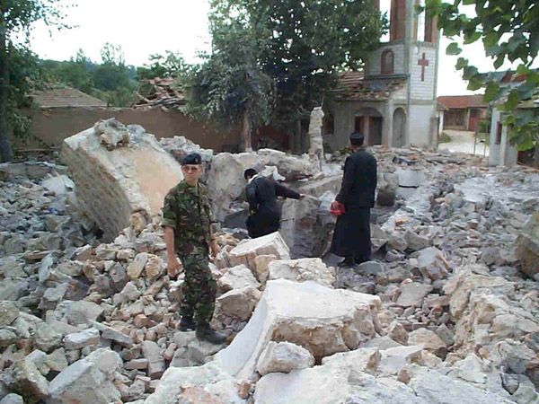 Destroyed Serb Orthodox church in Kosovo